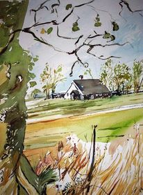 Twente, Holland, Aquarellmalerei, Landschaft