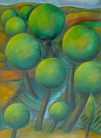 Landschaft, Temperamalerei, Baum, Mischtechnik