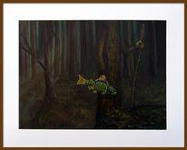 Fisch, Baum, Wald, Malerei