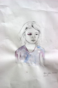 Zeichnung, Portrait, Kind, Illustration