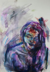 Aquarellmalerei, Figural, Frau, Blau