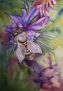 Grün, Biene, Lavendel, Aquarell