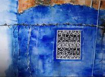 Blau, Chefchaouen, Marokko, Aquarell
