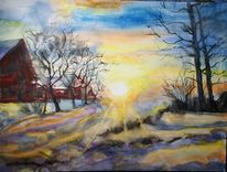 Winter, Gehöft, Aquarell, Wintersonne
