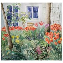 Frühling, Garten, Tulpen, Aquarell
