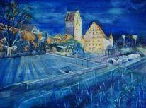 Stadtbeleuchtung, Dinkelsbühl, Nacht, Aquarell