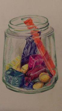 Glas, Süßigkeit, Stillleben, Zeichnungen