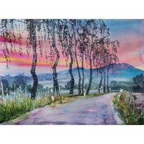 Birken, Aquarell, Sonnenaufgang