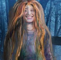 Frau, Goth, Lachen, Digitale kunst