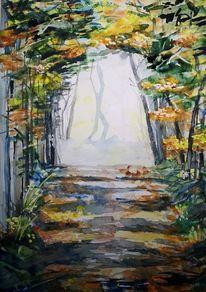Wald, Laub, Herbst, Aquarell