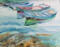 Boot, Wasser, Spiegelung, Aquarell