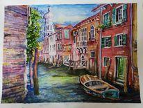 Kanal, Boot, Venedig, Aquarell
