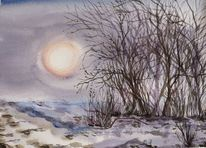 Winterlandschaft, Busch, Wintersonne, Aquarell