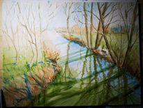 Fluss, Schatten, Aquarell, Skizze