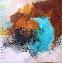 Rostblüten, Tuschmalerei, Acrylmalerei, Patina