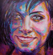Moderne kunst, Acrylmalerei, Portrait, Malerei