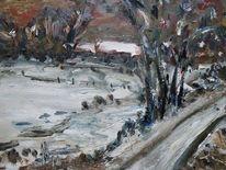 Malerei, Landschaftsmalerei, Weide, Dorf im winter