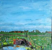 Ölmalerei, Himmel, Siel, Bauernhof