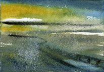 Wattenmeer, Aquarellmalerei, Friesland, Skizze