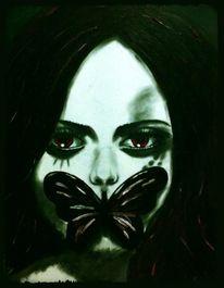 Menschen, Traurig, Mädchen, Schmetterling