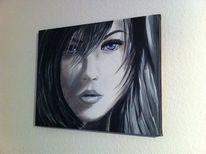 Gesicht, Frau, Acrylmalerei, Malerei