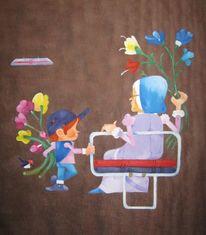 Pop art, Modern, Ölmalerei, Stadt