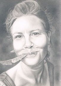Portrait, Bleistiftzeichnung, Löwenzahn, Zeichnungen