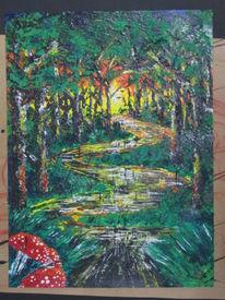 Wald, Morgensonne, Pilze, Malerei
