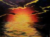 Boot, Ölmalerei, Wolken, Meer