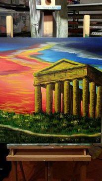 Kultur, Griechenland, Architektur, Acrylmalerei