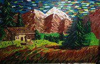 Pastös, Haus, Landschaft, Ölmalerei