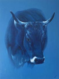 Oel auf leinwand, 2017, Blaue kuh, Malerei