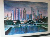 Main, Skyline, Gebäude, Brücke