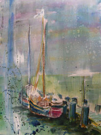 Boot, Aquarellmalerei, Blau, Sassnitz