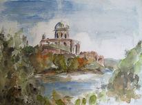 Esztergom, Ungarn, Aquarellmalerei, Aquarell