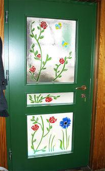 Landhausstil, Blumen, Schmelglas, Tür