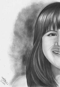 Mädchen, Zeichnung, Portrait, Bleistiftzeichnung