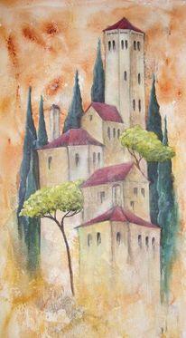 Landschaft, Italien zypressen baustil, Acrylmalerei, Malerei