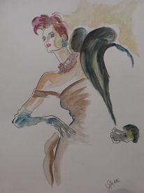 Aquarellmalerei, Modezeichnung, Aquarell