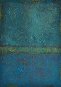 Abstrakte malerei, Grün, Blau, Türkis