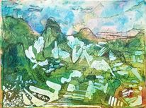 Inka, Machupicchu, Landschaft, Druckgrafik