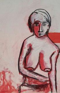 Frau, Rot, Miese stimmung, Malerei