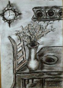 Vergehen, Zeichnung, Kreide, Zimmer