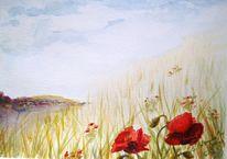 Pflanzen, Aquarellmalerei, Blumen, Sorglosikeit