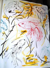 Skizzenbuch, Zeichnung, Tuschmalerei, Feder