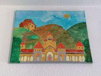 Landschaft, Architektur stadt, Malerei, Kirche