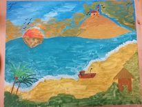 Acrylmalerei, Landschaft, Boot, Gemälde