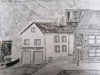 Zeichnung, Feuerwehr, Stadt, Bleistiftzeichnung