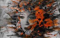 Abstrakt, Schwarz weiß, Malerei, Orange
