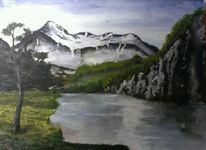 Landschaft wasser berge, Malerei